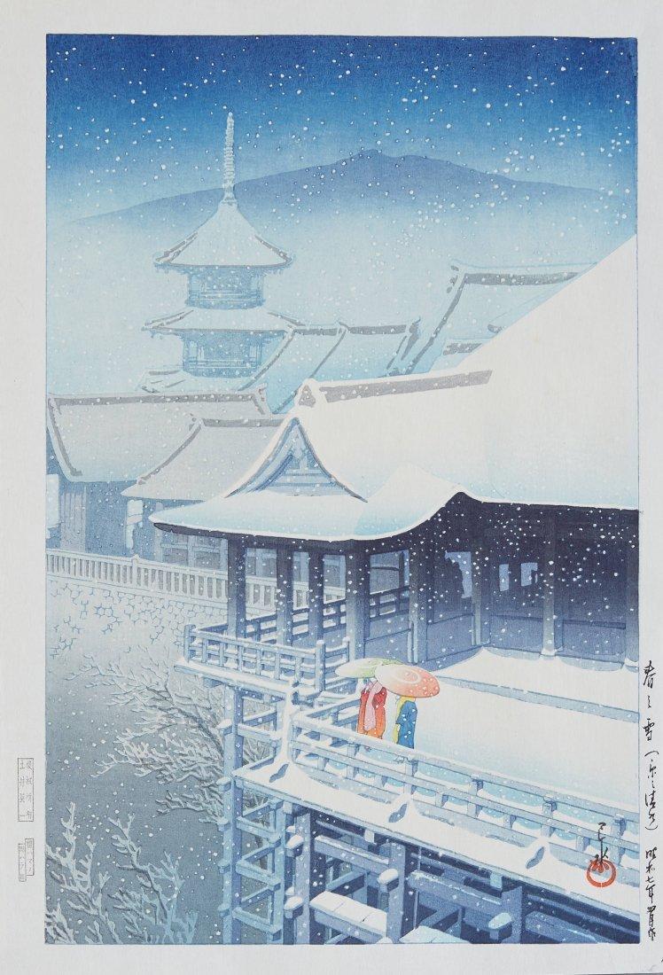 Hasui Kawase Japanese Woodblock Print Snow Scene