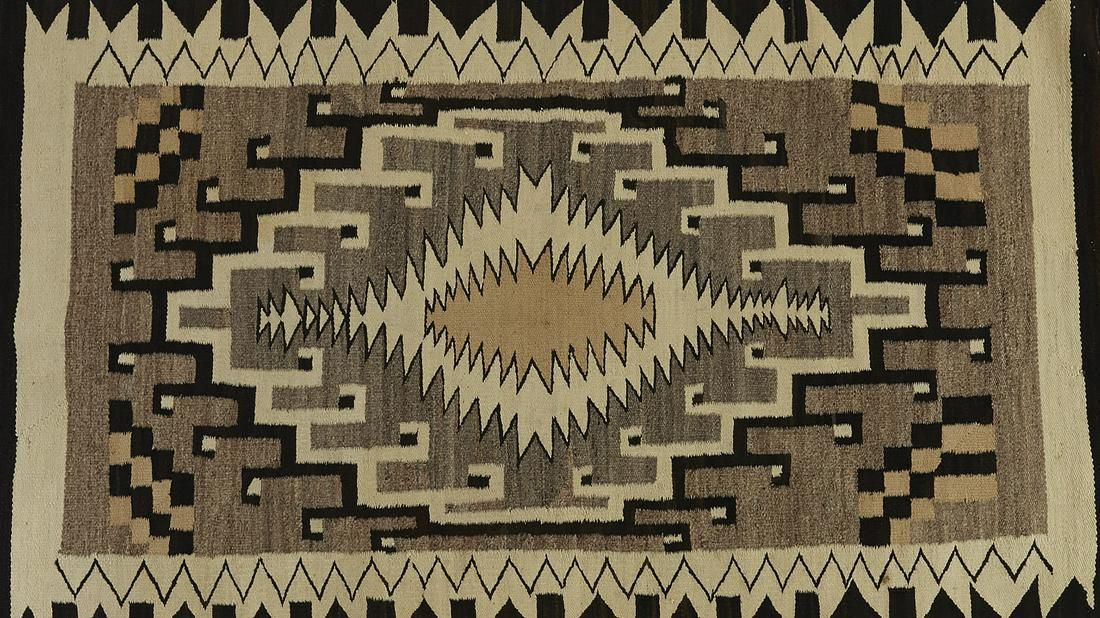 Navajo Weaving Two Grey Hills Rug / Blanket