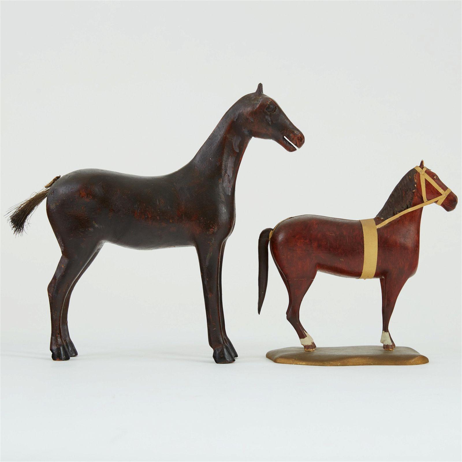 Group 2 Folk Art Carved Wood Horses