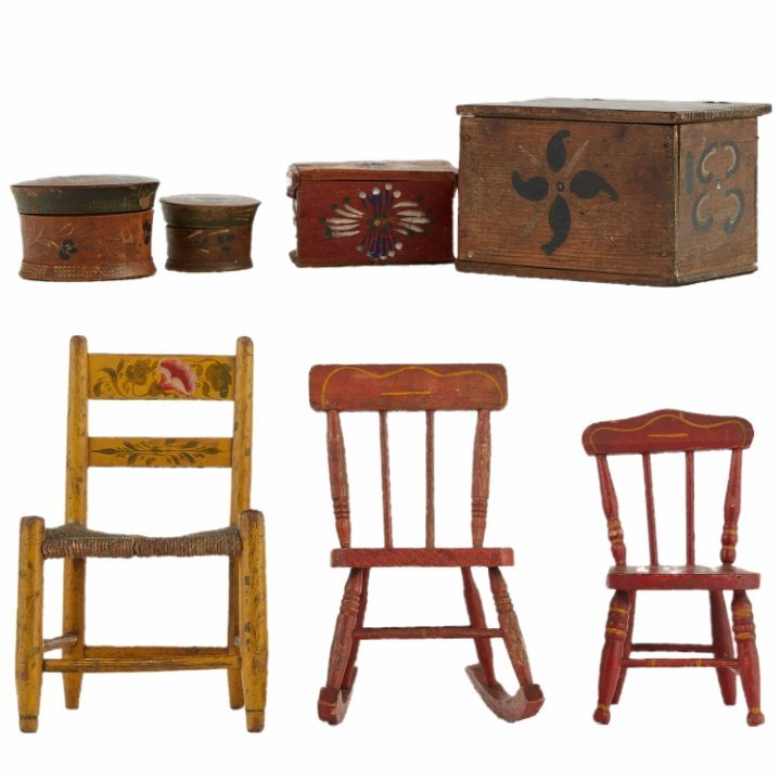 Grp: 7 Mini Folk Art Chairs and Wood Boxes