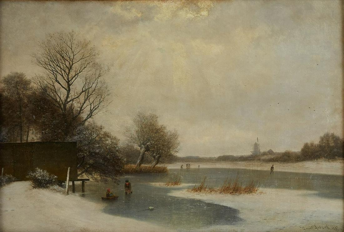 Georg Emil Libert Winter Landscape Painting Oil o