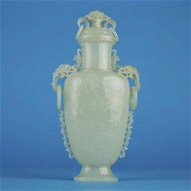 Chinese Republic Period Mughal Style Jade Vase w/