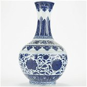 Chinese Qing Blue and White Porcelain Tribute Vas