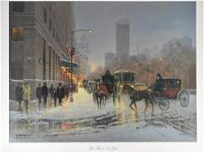 "G. Harvey ""The Plaza New York"" Lithograph Art Pri"