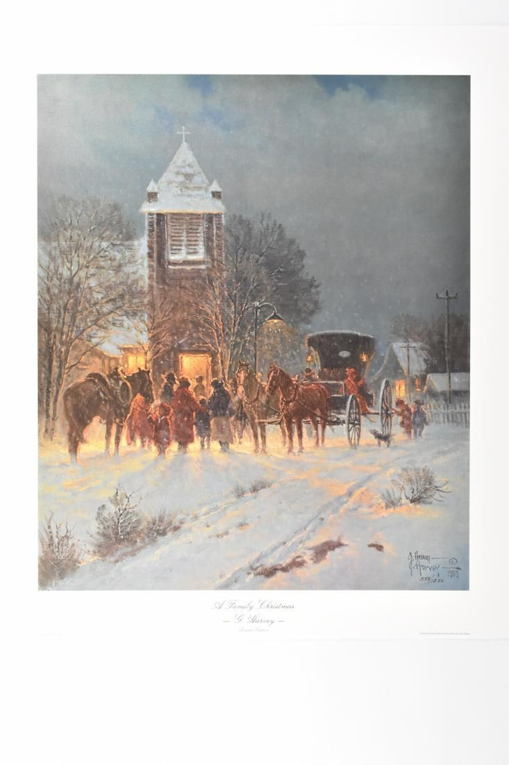 "G. Harvey ""Family Christmas"" Lithograph Art Print"