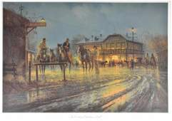"G. Harvey ""The Cowboy's Christmas Ball"" Lithograp"