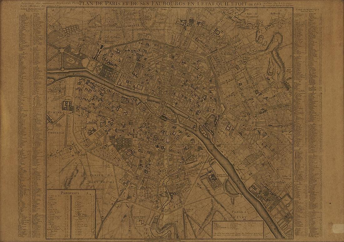 Georges Louis Rouge Plan of Paris Map 1765
