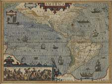 Hondius Map North and South America 1606