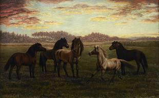 "Julius Holm ""Horses in Pasture"" Oil on Canvas"