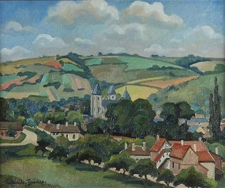 "Paul-Emile Pissarro ""Vue de Village"" Oil on Canva"