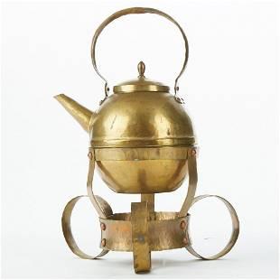 German Arts and Crafts Brass Teapot Set