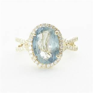 Gray Blue Sapphire Ring w Diamonds