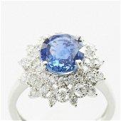 Unheated Deep Blue Sapphire Ring