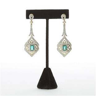 Emerald and Diamond Earrings w White and Yellow