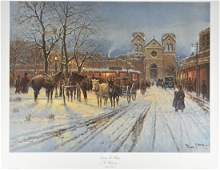 G Harvey Santa Fe Plaza Lithograph Art Print