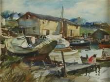 James M. Hon Sessions Watercolor Harbor Scene