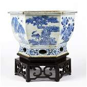 Early 19th c Chinese Porcelain Jardiniere w Stand