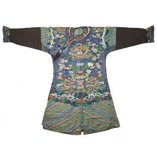 19th C. Qing Chinese Blue Silk Brocade Dragon Robe