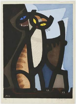 Tomoo Inagaki Couple of Cats Woodblock Print