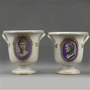 Pair of Large Royal Vienna Classical Handled Porcelain