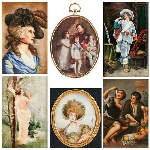 Grp: 6 Porcelain Paintings & Prints