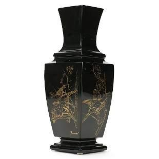 Baccarat Black Crystal Vase with Gilt Birds