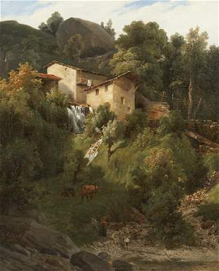 After Camille Corot Italian Landscape Oil on Canvas
