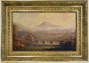 Style of Sanford Gifford Mountain Vista Oil on Canvas