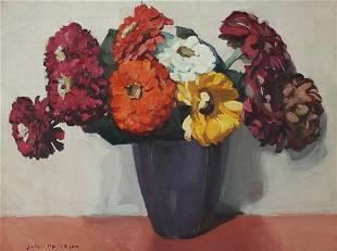 "Jane Peterson ""Nine Zinnias in Purple Vase"" Oil on"