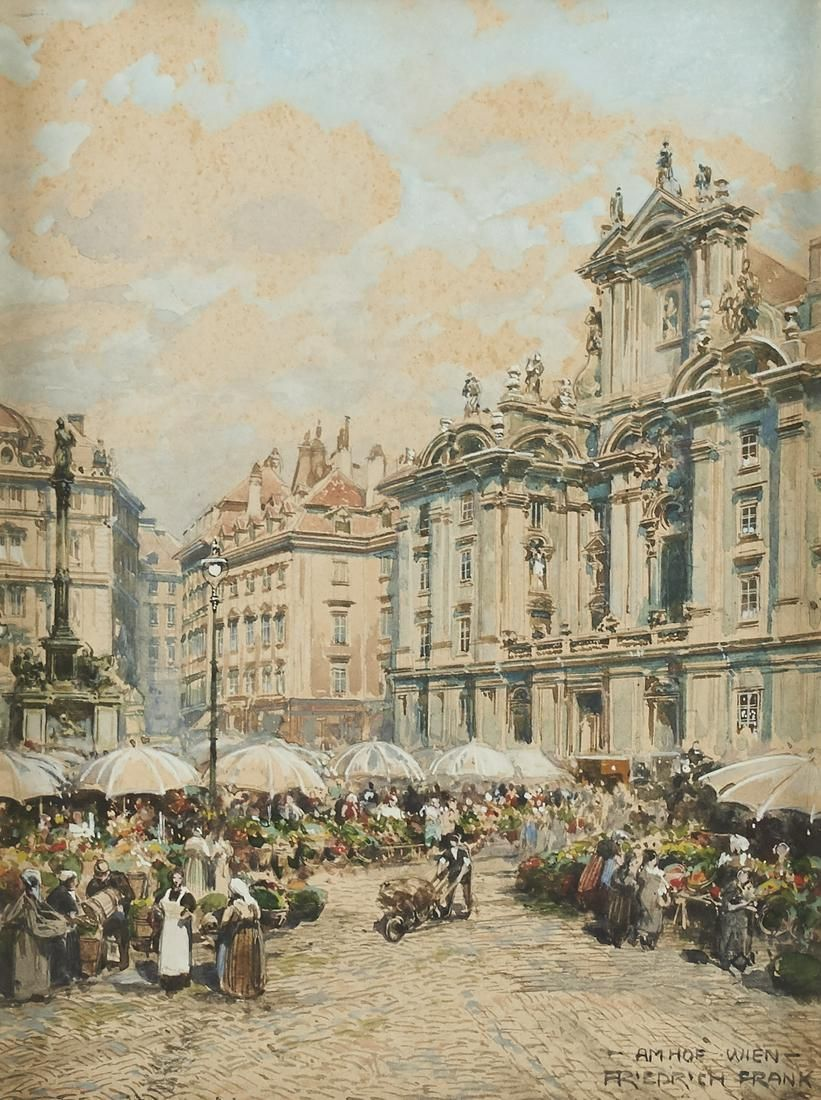 Friedrich Frank Am Hof Vienna Watercolor