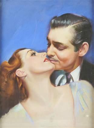 "Charles Rubino ""Clark Gable"" Pastel on Board"