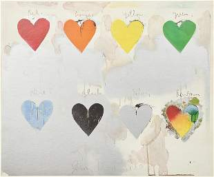 """Jim Dine """"8 hearts / look"""" Offset Lithograph 1970"""