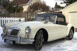 1958 White MG Convertible Off White Color MGA
