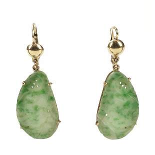 10K Yellow Gold & Carved Chinese Jade Earrings