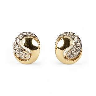 Pair of 14K Gold Diamond Yin Yang Earrings