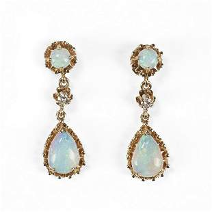 14K White Opal & Diamond Dangle Earrings