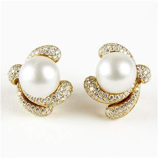 18K Gold Diamond Pearl Clip Back Earrings