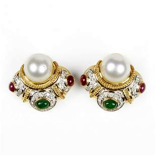 18K Gold Clip Back Earrings - Diamond Pearl Emerald