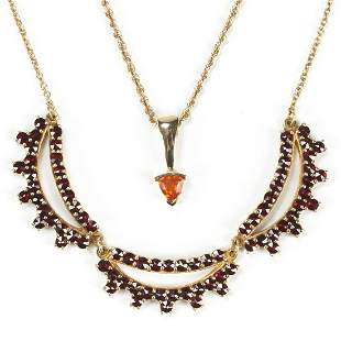 Grp: 2 Necklaces - Gold Orange Sapphire Garnet