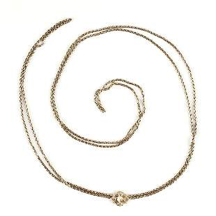14K Gold Victorian Necklace Chain Slide