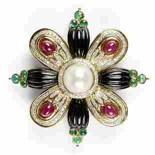 18K Gold Diamond Ruby Emerald Onyx Brooch