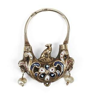 14K Yellow Gold Victorian Enameled Padlock - Jewelry