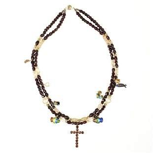 Gold Garnet Glass Bead Charm Necklace