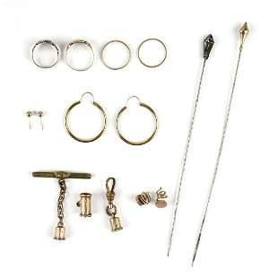 Grp: Vintage Gold Jewelry - Pins Rings Earrings