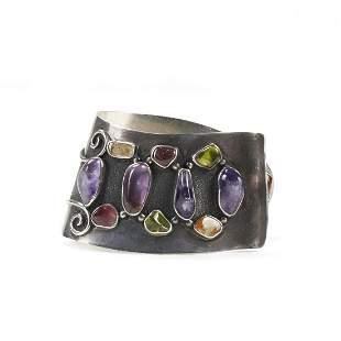 H. Fred Skaggs Silver & Colored Stone Cuff