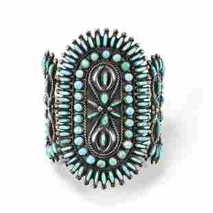 Wilford Begay Navajo Silver Petit Point Cuff