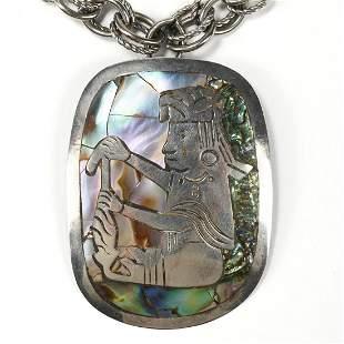 Sterling Mayan Abalone Necklace APB Hallmark