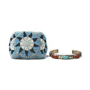 Grp: 2 Zuni Silver Cuffs - Simplicio & Beaded
