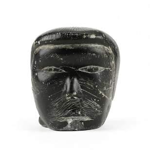 Inuit Stone Carving Vintage Signed Eskimo Head