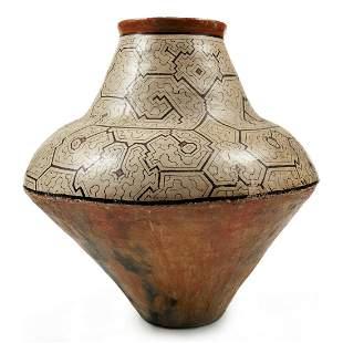 Large Shipibo Peruvian Polychrome Pot